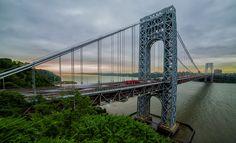 Sunrise of NYC and George Washington Bridge Fort Lee, Washington Heights, Hudson River, George Washington Bridge, Bridges, New York City, Sunrise, Porn, Nyc