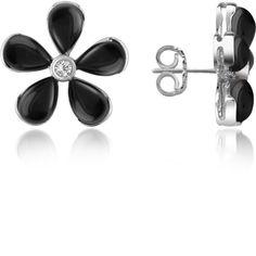 Del Gatto Earrings Diamond Gemstone Flower 18K Gold Earrings (1,555 NZD) ❤ liked on Polyvore featuring jewelry, earrings, black onyx, gold flower earrings, bezel set diamond earrings, 18k gold earrings, flower earrings and gold post earrings