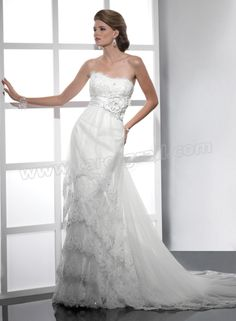 Tulle Beaded Embellishments Lace Strapless Scoop Neckline Sheath Wedding Dress