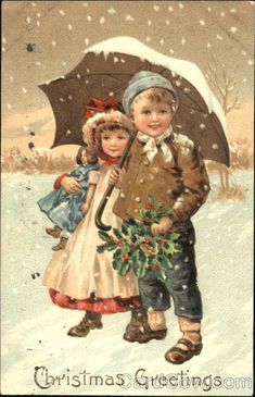 Two Children in Snow-Christmas Greeting