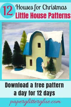 Miniature Christmas paper house with a glittered, snowy roof and a forest of bottlebrush trees Christmas Makes, Christmas Art, Xmas, Cardboard Crafts, Paper Crafts, Paper Paper, Foam Crafts, Paper Toys, Advent House