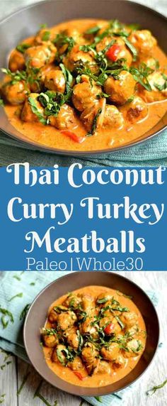 Thai Coconut Curry Turkey Meatballs This super delicious dinner is sure to please everyone! So much flavor, and healthy too!This super delicious dinner is sure to please everyone! So much flavor, and healthy too! Protein Dinner, Paleo Dinner, Dinner Recipes, Paleo Turkey Meatballs, Ground Turkey Meatballs, Turkey Sausage, Turkey Food, Paleo Whole 30, Whole 30 Recipes