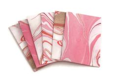 Set of 6 Pink Marble gift card holders  mini by ChainOfJoy on Etsy