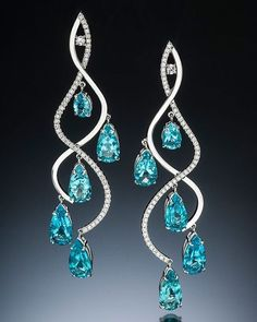 Luxurious water drop, rare apatite from Madagascar 14 karat white gold | cc: Adam Neely Fine Art Jewelry