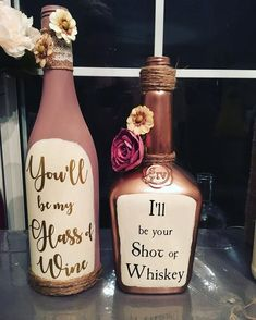 Decorated Wine Bottles with Quotes bottle Crafts Decorated Wine Bottles with QuotesYou can find Wine and more on our website.Decorated Wine Bottles with Quotes bottle Crafts. Liquor Bottle Crafts, Diy Wine Bottle, Alcohol Bottle Decorations, Empty Liquor Bottles, Fall Wine Bottles, Glitter Wine Bottles, Perfume Bottles, Bottle Centerpieces, Glass Bottles