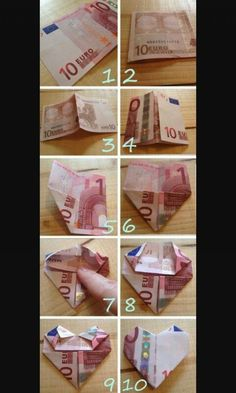 Hartje-vouwen-van-geld – Origami Community : Explore the best and the most trending origami Ideas and easy origami Tutorial Homemade Gifts, Diy Gifts, Best Gifts, Ideas For Gifts, Don D'argent, Folding Money, Diy And Crafts, Paper Crafts, Graduation Gifts