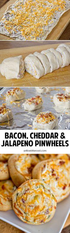 Bacon, Cheddar and Jalapeno Pinwheels | Game Day | Party food | Appetizer | Baked Pinwheels | #pinwheels #bacon #jalapeno via @yellowblissroad