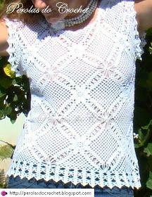 * Pérolas do Crochet: Blusa de croche feita com square