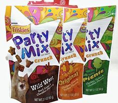Friskies Cat Treat Party Mix Love Pack: 3 different pouches with different flavors for your furry friends! Package contains: 1 - Original Crunch (Chicken, Liver & Turkey) 1 - Wild West (Beef, Liver & Cheddar) 1 - Picnic (Chicken, Turkey & Cheddar Flavors) Cat Food Coupons, Food Recalls, Cat Training Pads, Cat Shedding, Cat Fleas, Party Mix, Cat Memorial, Cat Accessories, Treats