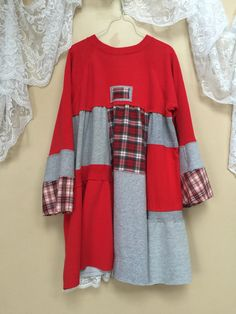 Upcycled Clothing Red Plaid Flannel patchwork by SimplyCathrineAnn
