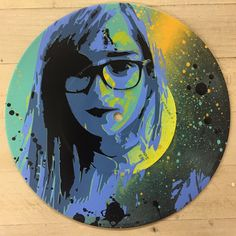 "Girls with Glasses-2. Number 2 in my ""Girls with Glasses"" series. 3 layer stenciled spray paint on vintage 7"" vinyl record. This is a one of a kind that I won't be painting again."