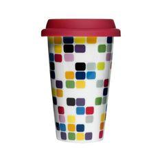 Kubek Pixel z silikonową pokrywką Cafe, 250 ml