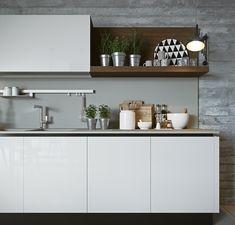 Cozinha no estilo contemporâneo em tons de cinza.