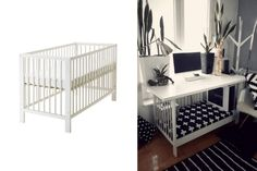 I wanted to have a large corner desk, but unfortunately IKEA GALANT is discontinued. IKEA LINNMON corner desks were not deep enough. Funky Furniture, Home Office Furniture, Bed Furniture, Cheap Furniture, Discount Furniture, Rustic Furniture, Furniture Ideas, Large Corner Desk, Ikea Corner Desk