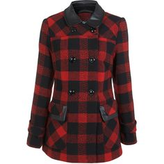Miss Selfridge Red Check Pea Coat ($53) ❤ liked on Polyvore featuring outerwear, coats, jackets, casacos, coats & jackets, red, red coat, red pea coat, pea jacket and miss selfridge