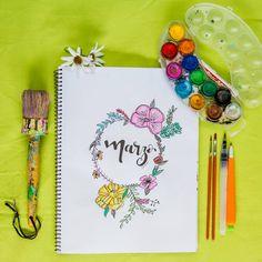 Así le doy la bienvenida al mes de Marzo. . @cuadernosledesma me dió la oportunidad de realizar la portada de este mes.  Estoy tan feliz… Tan Feliz, Dio, Instagram, Sketchbook Cover, Sketchbooks, March Month, Opportunity, School