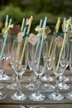 Project Nursery - Gender Neutral Baby Shower Straws. Love this idea, could even use clear plastic champagne glasses from the party store.