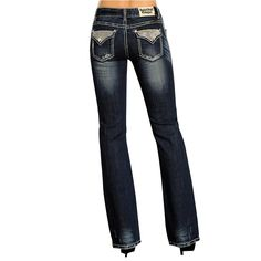 Rock & Roll Cowgirl Women's Rhinestone Flap Jeans