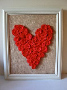 Framed Rosette Heart by BurlapButterflies on Etsy, $22.00