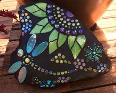DragonFly Mosaics   Dragonfly Rocks Mosaic Rocks, Mosaic Stepping Stones, Mosaic Tiles, Mosaics, Tiling, Glass Garden Art, Mosaic Garden, Garden Stones, Glass Art
