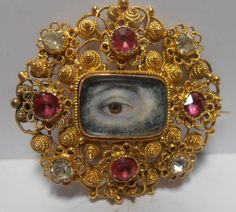 FINE RARE 18CT GOLD GEORGIAN LOVERS EYE BROOCH ENGRAVED Thomas 26th Dec 1796  at least $970+