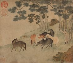 Unidentified Artist. Horses in Landscape with Attendant, Yuan dynasty (1271–1368). China. The Metropolitan Museum of Art, New York. Gift of Mrs. Cole Porter, 1951 (51.150.2) #horses