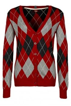 Merc women's Lindsay red Argyle diamond classic v neck cardigan at ScaryCanary Clothing