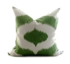 Ikat Decorative Pillow  Green And White18 inch by lajoyade on Etsy, $39.00