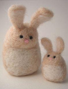 needle felted mama and baby bunny