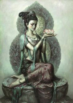 "Buddhist goddess of mercy: Quan Yin (also spelled Kwan Yin, Kuanyin; in pinyin, Guanyin). In Sanskrit, her name is Padma-pâni, or ""Born of the Lotus. Sacred Feminine, Divine Feminine, Fantasy Kunst, Fantasy Art, Goddess Of Love, Indian Goddess, Earth Goddess, Divine Goddess, Mother Goddess"