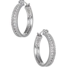 CZ by Kenneth Jay Lane CZ Triple Row Hoop Earrings (130 CAD) ❤ liked on Polyvore featuring jewelry, earrings, no color, hoop earrings, imitation jewelry, cz hoop earrings, imitation jewellery et zirconia jewelry