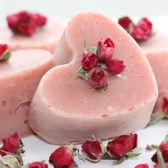 Rose Fragranced Heart Shaped Natural Soap UK by SomersetGarden, £4.50
