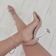 Gianna Nude Suede Lace Up Clear Heels : Simmi Shoes