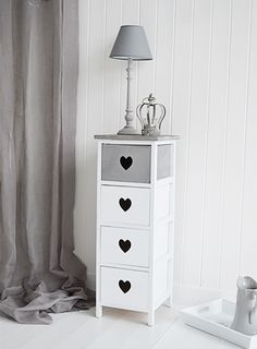 Grey and white narrow storage drawers for hall bedroom or living room. Heart Cottage. The White Lighthouse offers a range of furniture and accessories with a combination of Coastal, Scandi, Danish, French, Shabby Chic and New England styles