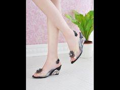 ออกงานด้วยรองเท้าแก้วส้นสูงคริสตัลใสแฟชั่นเกาหลีสวยหรู นำเข้า พร้อมส่งHS9099 - YouTube