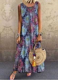 General Blue Vacation Dresses Casual Round Neckline Spring Maxi Summer Cotton A-line Dress Floral Sleeveless S M L XL XXL Dress Women's Fashion Dresses, Dress Outfits, Casual Dresses, Dresses For Work, Summer Dresses, Vestidos Country, Diy Vestido, Sequin Party Dress, Maxi Robes