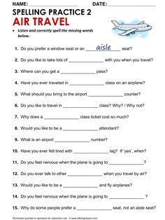 Airports and Air Travel Spelling Worksheet AIR TRAVEL 2, English, Learning English, Vocabulary, ESL, English Phrases, http://www.allthingstopics.com/airports-and-air-travel.html