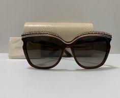 df24881f7f06b JimmyChoo Sophia brown and crystal sunglasses. Very gently used