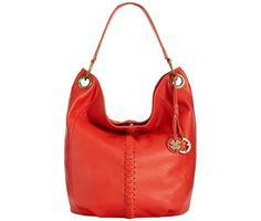 Lucky Brand Carmel Bucket Shoulder Bag Crossbody Hibiscus Red Leather LB2432 #LuckyBrand #ShoulderBag