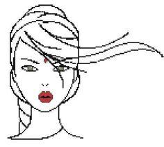 0 point de croix cheveux dans le vent - cross stitch hair in the wind