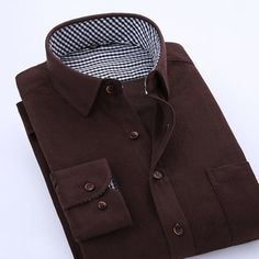 Multi-color Slim Fit Mens Corduroy Casual Business Shirt Long Sleeve Solid Color at Banggood