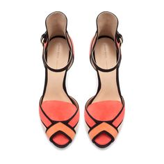 Coral and Black Trim Sandals ::: Zara