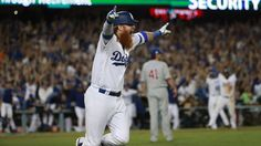 October 15, 2017:  NLCS Game 2: Cubs-Dodgers 4 to 1, Dodgers.    Dodgers third baseman Justin Turner celebrates after hitting a walk-off, three-run home run.