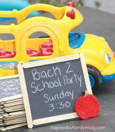 DIY Back to School Party: Chalkboard Invitations - Yup, those are popsicle sticks. I couldn't believe how easy these were to make.