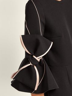 Roksanda Lavette bow-trimmed crepe dress Baptism Outfit, Roksanda, Crepe Dress, Pink Satin, Fashion Backpack, Women Wear, Slip On, Bows, Fashion Outfits