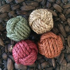 Decorative rope knot balls set of 4 bowl by highplainsknotwork