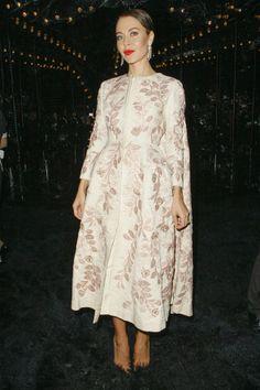 Ulyana Sergeenko GIAMBATTISTA VALLI Couture rose embroidered midi coat dress