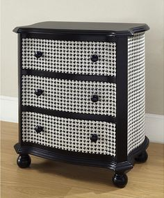 Hand-Painted Black and White Houndstooth Accent Chest - eclectic - dressers chests and bedroom armoires - Overstock
