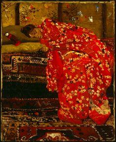 George Hendrik Breitner, Girl in Red Kimono on ArtStack #george-hendrik-breitner-1857-1923 #art