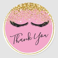 Shop Black Eye Lashes Gold Glam Confetti Thank You Classic Round Sticker created by GiftShopOnline.